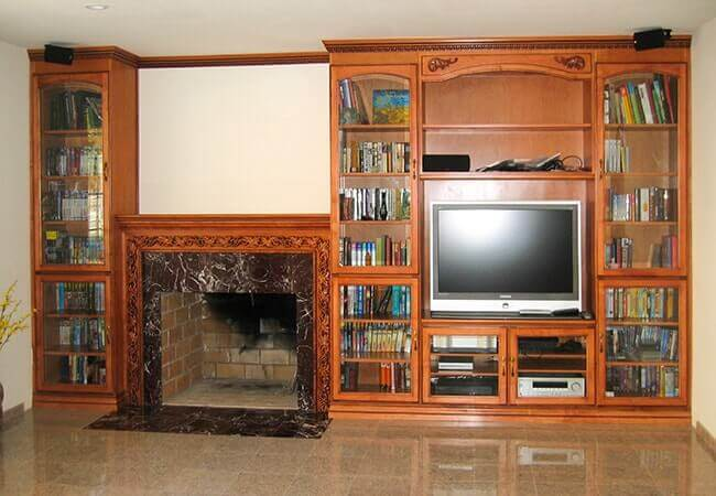 Custom maple bookcase and entertainment center by Master Cabinets Company