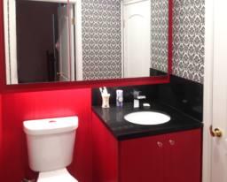 Red Cabinets Vanity 2 Bathroom